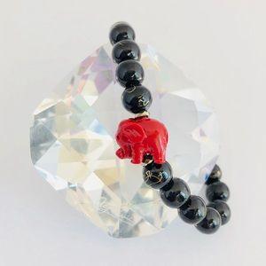 Handmade Black Lucky Elephant Beaded Bracelet